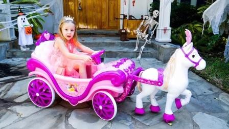 小萌娃也是有车的,玩具小马车