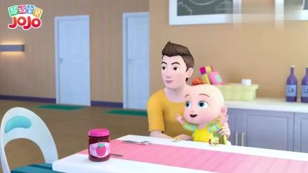 超级宝贝:爸爸抱着小宝贝真开心,要吃美味的早餐了