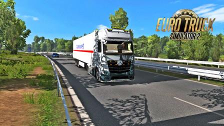 傻康频道 欧洲卡车模拟2:驾驶奔驰Actros 2019在高速上高速行驶