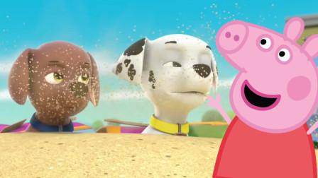 小猪佩奇帮助陷入沙子汪汪队立大功的毛毛和路马