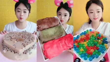 可爱小姐姐试吃毛巾卷蛋糕,看着就有食欲