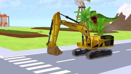 霸王龙开着挖掘机,快无敌啦