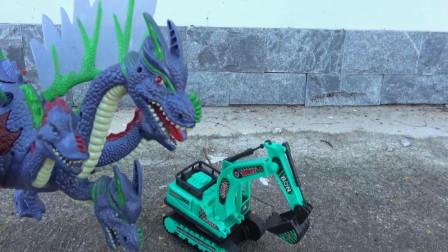 亮亮玩具巨龙帮助汽车挖掘机赶走恐龙,婴幼儿宝宝早教益智游戏视频
