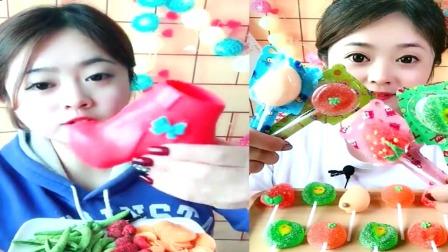 萝莉小姐姐吃播:彩色巧克力、棒棒糖,看起来,好吃又有趣