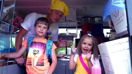 国外萌娃时尚,小妹妹们一起学做冰淇淋,太有趣了