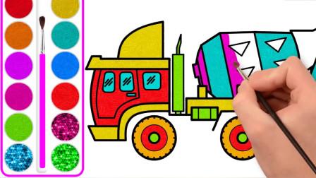 儿童学画画,教孩子们简笔画和水彩涂色一辆混凝土搅拌车。