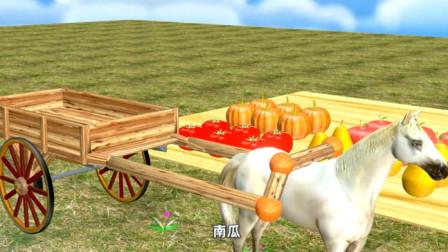 动物世界 棕熊的水果大丰收了马儿来帮忙搬运