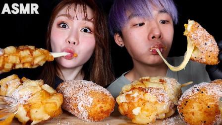 【咀嚼音】马苏里拉玉米热狗、切达奶酪香肠玉米热狗