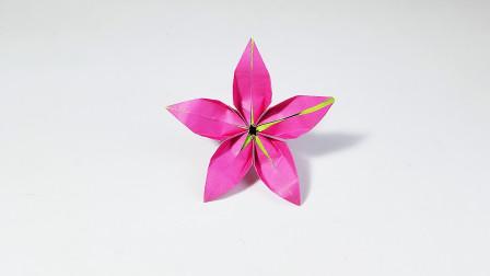 教你折纸立体桃花,简单漂亮,儿童很喜欢