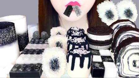 黑白色调的创意甜点,看起来就像山水墨画,即高级又带点艺术感