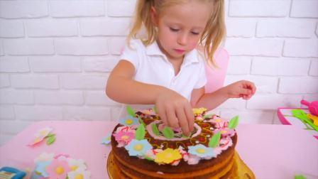 美国儿童时尚,小萝莉给爸爸制作生日蛋糕,好厉害呀