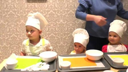 外国儿童时尚,小朋友们在学习做蛋糕,好认真呀