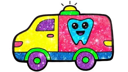 闪光玩具牙齿和牙膏为儿童,幼儿着色和绘画