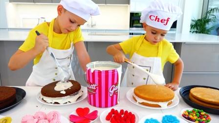 萌娃小可爱自制美味蛋糕,小家伙真是棒棒哒