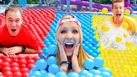 极限单色球泳池挑战,美女PK两位小哥,结果画面太刺激