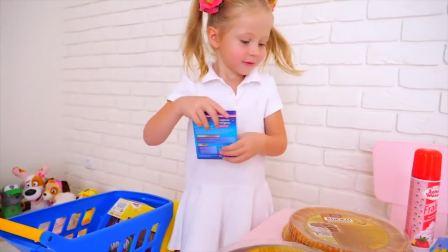 外国少儿时尚,小萝莉自己给爸爸做生日蛋糕,好棒呀