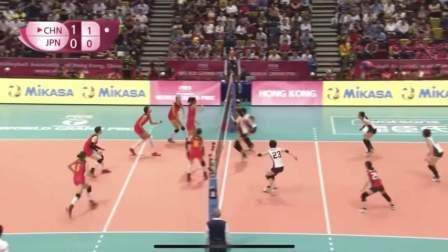 中国女排vs日本女排,朱婷和袁心玥集锦,中国女排身高优势太明显