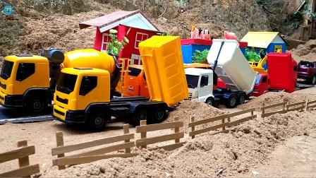 惯性工程车施工,自卸车运输泥土铺路