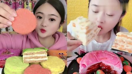 可爱小姐姐试吃提拉米苏、芒果千层蛋糕,一口超过瘾
