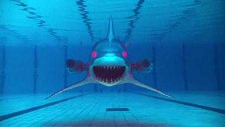 鲨鱼吃下外星铁球,变成机械怪物,身体刀枪不入