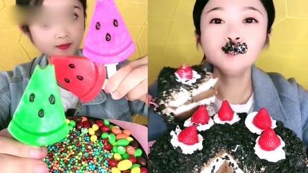 萝莉小姐姐吃播:果冻西瓜、千层蛋糕,甜品口味任选