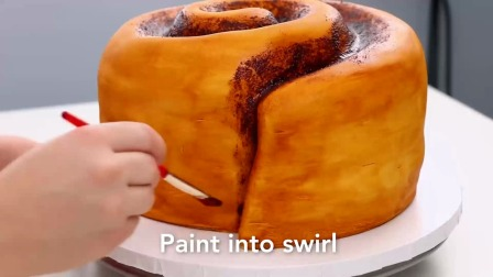 美味可口的大肉桂卷蛋糕!