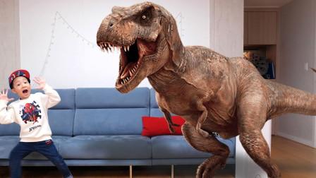 小正太玩果冻制作软糖恐龙,哇!恐龙软糖变成真的霸王龙出现了!