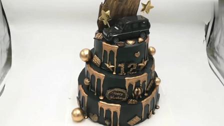 送男孩的蛋糕,黑金主题过生日显高端大气,三层蛋糕打桩及转移!