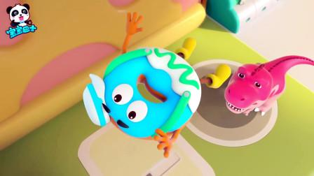 《宝宝巴士》倒霉的甜甜圈被跷跷板翘飞,掉落在霸王龙鼻子上,美食大冒险动画