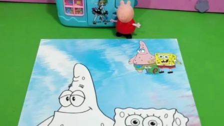 佩奇想念海绵宝宝了,他到底是什么颜色的