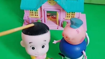 猪爷爷躺在这里玩,大头来找乔治玩