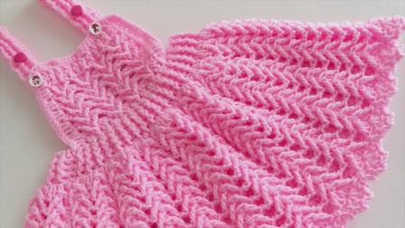 「钩针编织」时尚又漂亮的背带裙!图解视频