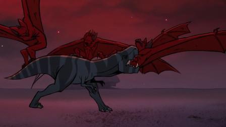 一只霸王龙赚走了我的眼泪,为救人类,和比自己大10倍的蝙蝠对战