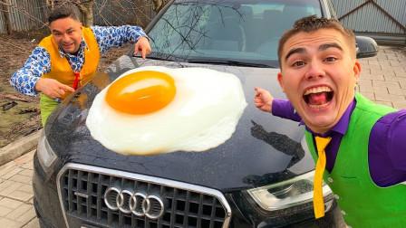 国外父子趣味整蛊,爸爸在车上煎荷包蛋,儿子的反应太意外了!