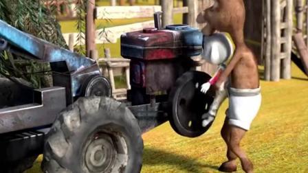 起动拖拉机毛豆力气太小#亲子#动漫