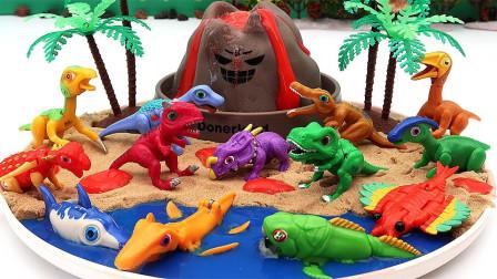 拼装侏罗纪假山和小恐龙玩具