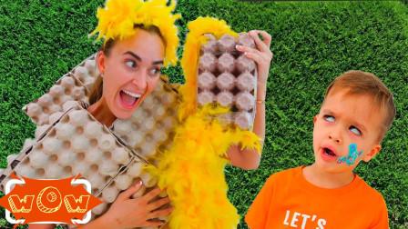 萌宝亲子故事:好搞笑!小正太是如何用垃圾袋给妈妈做裙子的呢?