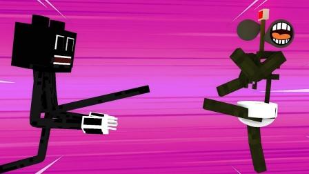 我的世界动画:蛋糕保卫战,汽笛人与卡通猫战斗爆发