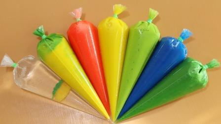 漂亮的裱花袋鼻涕泥做成彩虹色史莱姆,美的不要不要的!