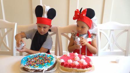 萌娃们自己动手制作的生日蛋糕可真漂亮呀!