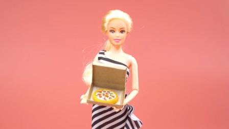 DIY手作,超轻黏土制作芭比娃娃的迷你披萨饼