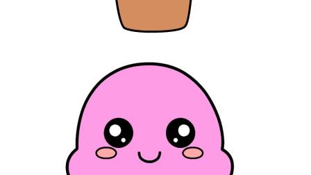 英语字母I宝宝学英语单词Ice-cream可爱冰淇淋简笔画宝宝学画画