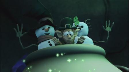 加菲猫:加菲猫拜托小精灵,让他把雪人们送去北极,雪人们超开心