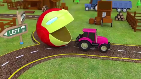 吃豆人把粉色的大货车吃掉了变成什么颜色