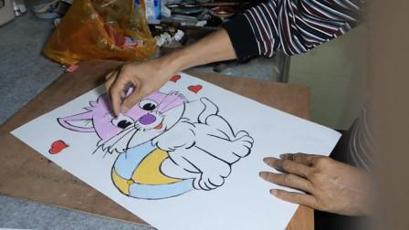 卡通画可爱猫作画过程