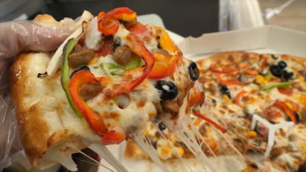韩国美食:大妈自创特色披萨,满满都是芝士,看这拉丝吃货沸腾了