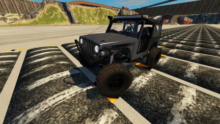 BeamNG:吉普车挑战过减速带,减震扛不住了!