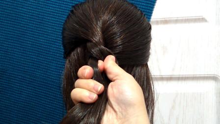 中长发丸子头发型,不用编辫子也能做的发型,简单容易上手!