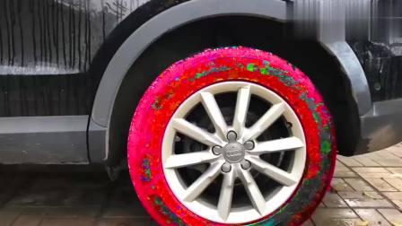 扮演游戏:小伙要给汽车黑色轮子变换颜色