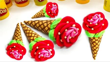 亲子手工diy之制作彩色玫瑰花冰淇淋
